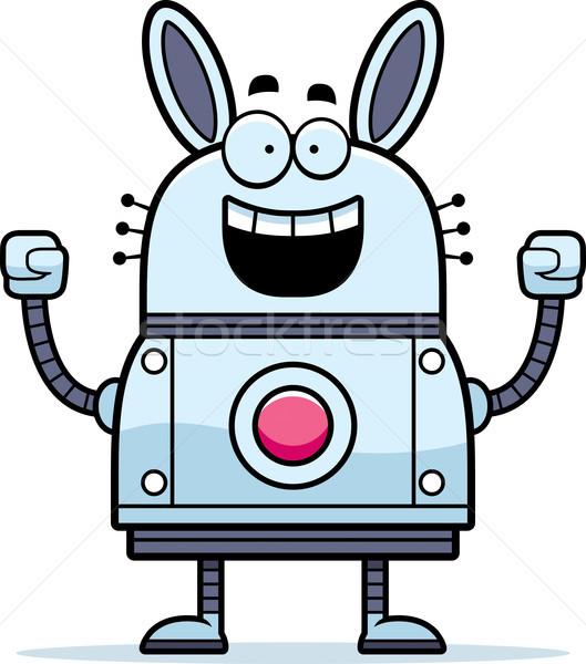 Vieren robot konijn cartoon illustratie succes Stockfoto © cthoman