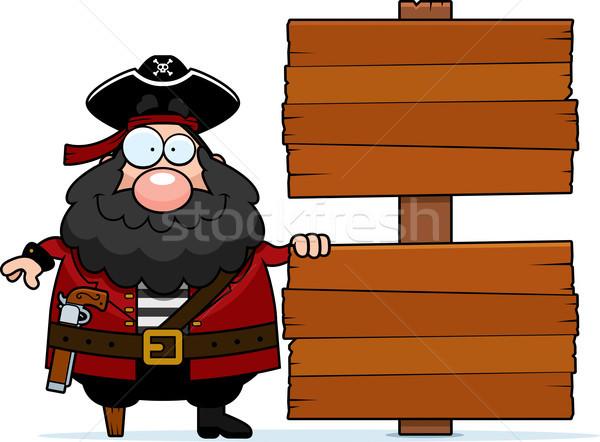 Piraten Zeichen glücklich Karikatur Holz gun Stock foto © cthoman