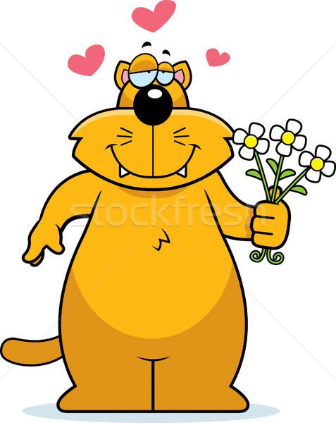Kedi çiçekler mutlu karikatür buket papatya Stok fotoğraf © cthoman