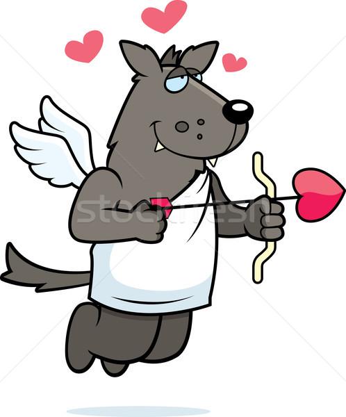 Lobo feliz desenho animado arco seta animal Foto stock © cthoman
