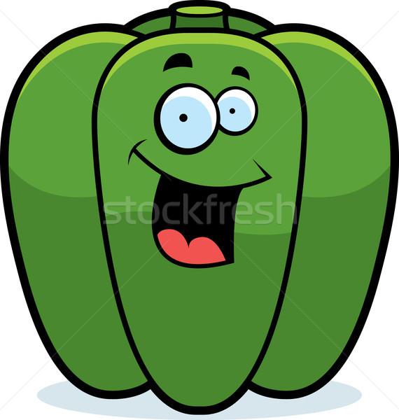 Karikatür biber gülen yeşil mutlu Stok fotoğraf © cthoman