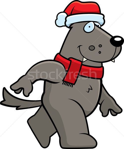 Karikatür kurt Noel şapka Stok fotoğraf © cthoman