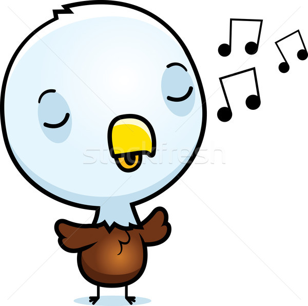 Cartoon Baby Eagle Singing Stock photo © cthoman
