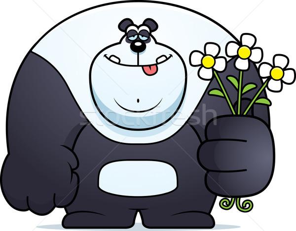Cartoon panda bloemen illustratie beer dier Stockfoto © cthoman