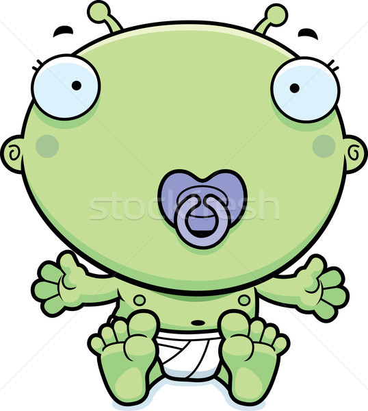 Stock photo: Cartoon Baby Alien Pacifier