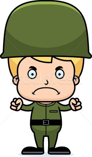 Cartoon сердиться солдата мальчика глядя Сток-фото © cthoman
