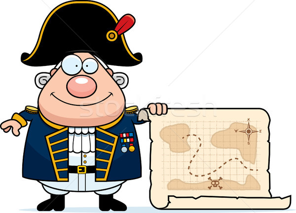 Cartoon British Admiral Treasure Map Stock photo © cthoman