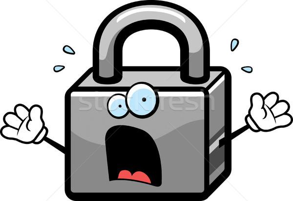 Paura lock cartoon metal scream paura Foto d'archivio © cthoman