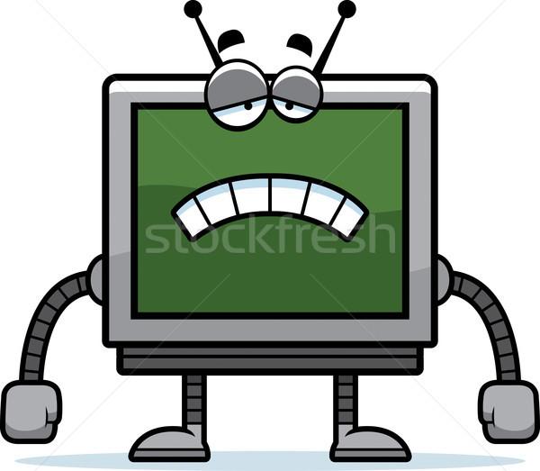 печально Компьютерный монитор Cartoon иллюстрация робота глядя Сток-фото © cthoman