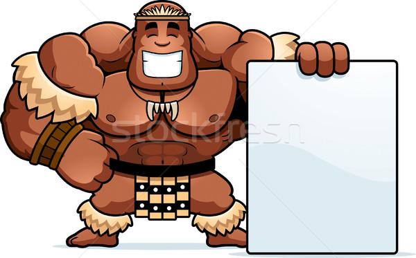 Cartoon guerrero signo ilustración hombres persona Foto stock © cthoman