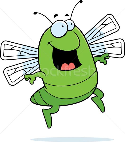 Yusufçuk atlama mutlu karikatür gülen yeşil Stok fotoğraf © cthoman