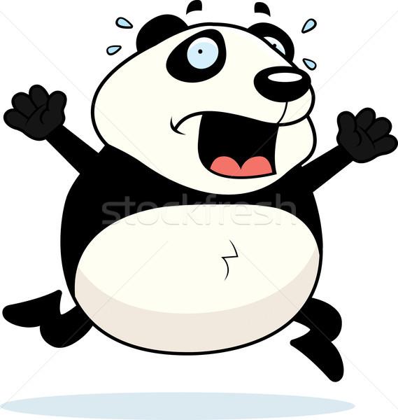 Panda panik karikatür çalışma ayı hayvan Stok fotoğraf © cthoman