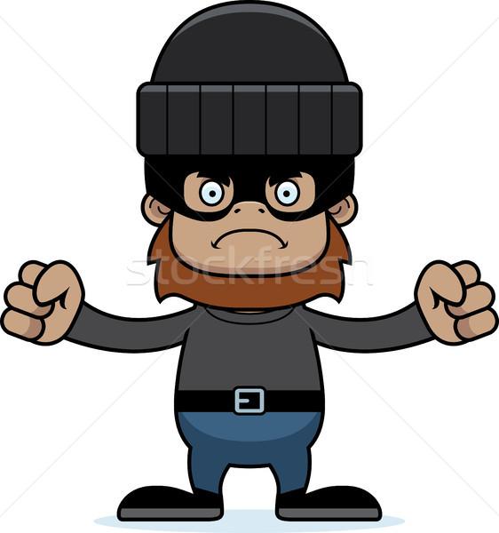 Karikatür öfkeli hırsız bakıyor grafik Stok fotoğraf © cthoman