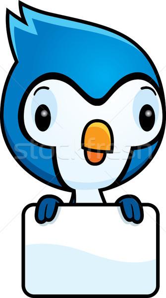 Cartoon Baby Blue Jay Sign Stock photo © cthoman