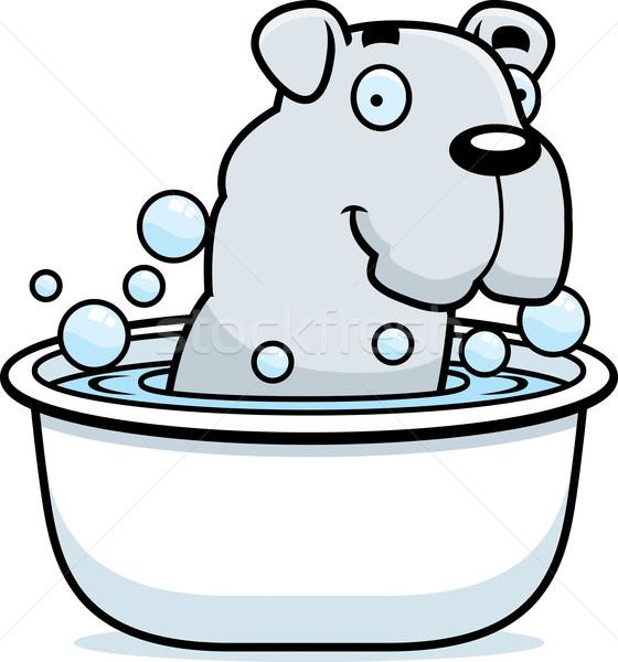 Cartoon bulldog bagno illustrazione animale Foto d'archivio © cthoman