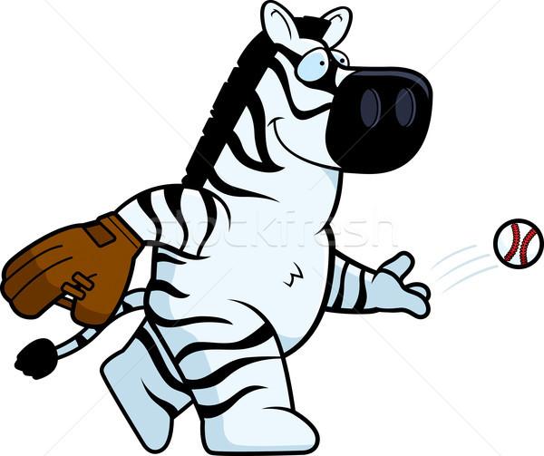 Stock fotó: Rajz · zebra · baseball · illusztráció · boldog · labda