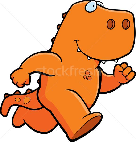динозавр работает счастливым Cartoon улыбаясь оранжевый Сток-фото © cthoman
