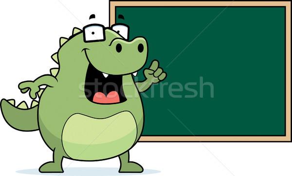 Jaszczurka tablicy szczęśliwy cartoon szkoły okulary Zdjęcia stock © cthoman