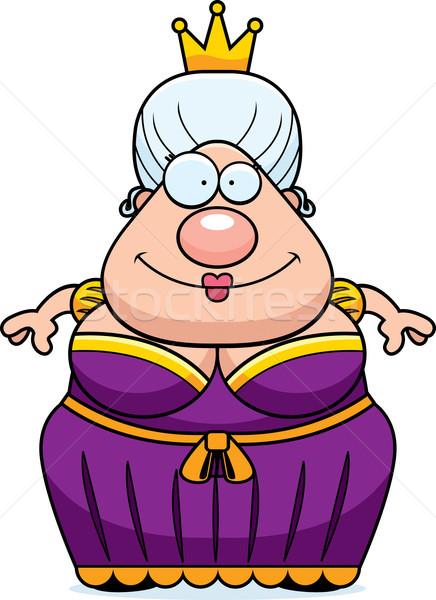 Cartoon królowej uśmiechnięty szczęśliwy stałego kobieta Zdjęcia stock © cthoman