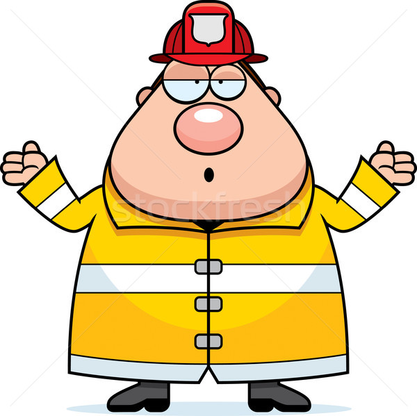 Cartoon Fireman Confused Stock photo © cthoman