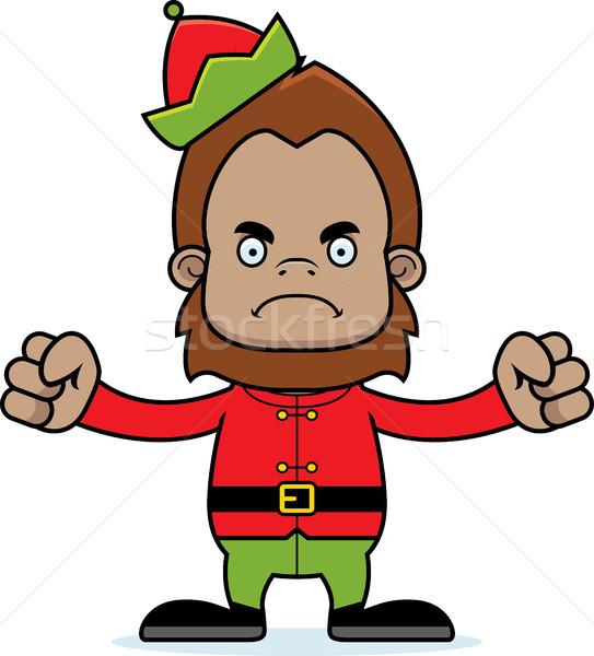 Stock photo: Cartoon Angry Xmas Elf Sasquatch