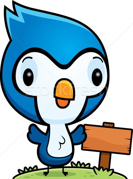 Cartoon Baby Blue Jay Wood Sign Stock photo © cthoman