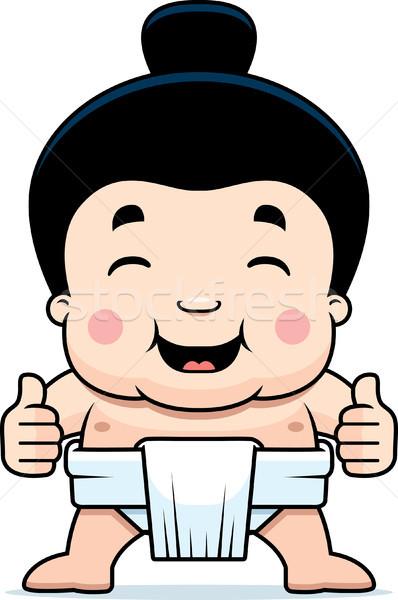 Cartoon Sumo Boy Thumbs Up Stock photo © cthoman