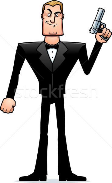 Cartoon Spy in Tuxedo Standing Stock photo © cthoman