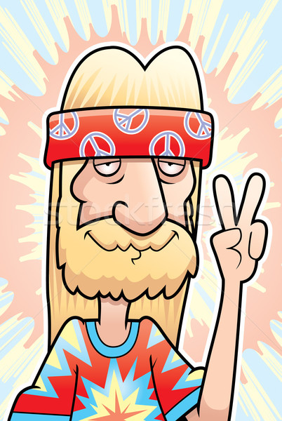 Hippie paz assinar feliz desenho animado Foto stock © cthoman