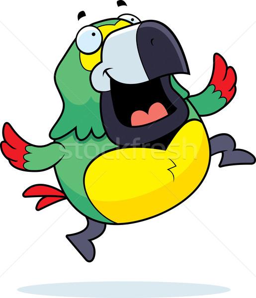 Papuga skoki szczęśliwy cartoon uśmiechnięty ptaków Zdjęcia stock © cthoman