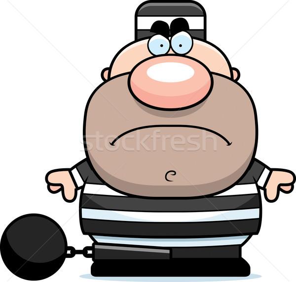 Desenho animado zangado prisioneiro ilustração olhando homem Foto stock © cthoman