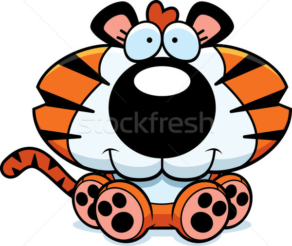 漫画 虎 カブ 座って 実例 笑みを浮かべて ストックフォト © cthoman