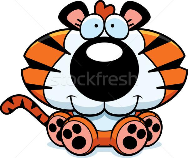 Cartoon tijger welp vergadering illustratie glimlachend Stockfoto © cthoman