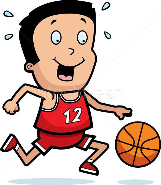 Stock fotó: Rajz · fiú · kosárlabda · illusztráció · játszik · gyerekek