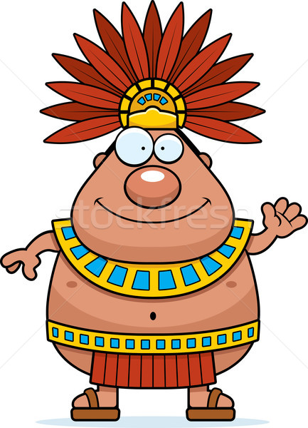 Cartoon Aztec King Waving Stock photo © cthoman