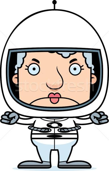 Сток-фото: Cartoon · сердиться · астронавт · женщину · глядя