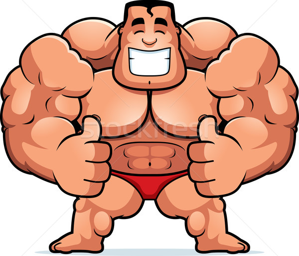 Cartoon bodybuilder illustrazione fitness uomini Foto d'archivio © cthoman