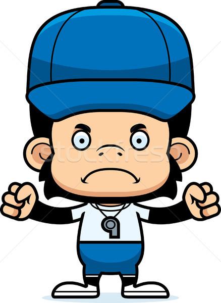 Cartoon boos coach chimpansee naar grafische Stockfoto © cthoman