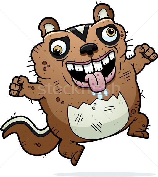 Cartoon gek lelijk chipmunk illustratie naar Stockfoto © cthoman