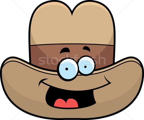 Cowboy hat uśmiechnięty cartoon szczęśliwy Zdjęcia stock © cthoman