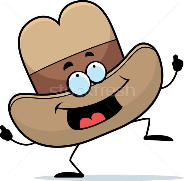 ковбойской шляпе танцы счастливым Cartoon улыбаясь Сток-фото © cthoman