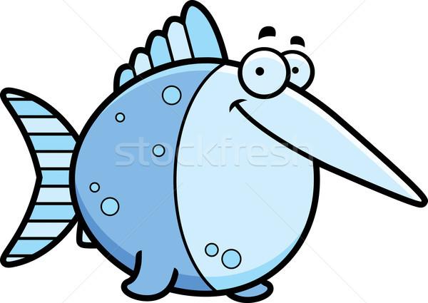 Cartoon zwaardvis glimlachend illustratie gelukkig Blauw Stockfoto © cthoman