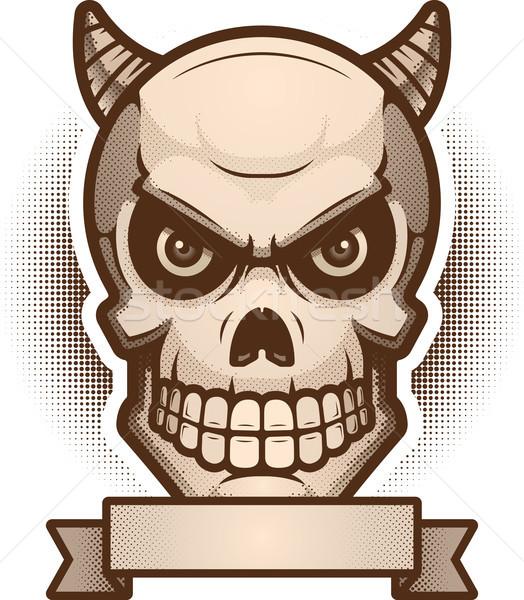 демон череп баннер иллюстрация графических дьявол Сток-фото © cthoman