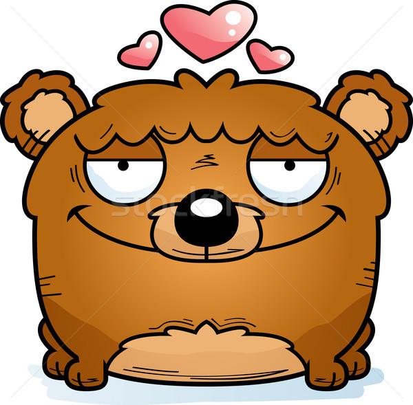 Cartoon beer welp liefde gelukkig dier Stockfoto © cthoman