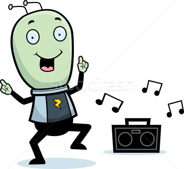 чужеродные танцы счастливым Cartoon улыбаясь музыку Сток-фото © cthoman