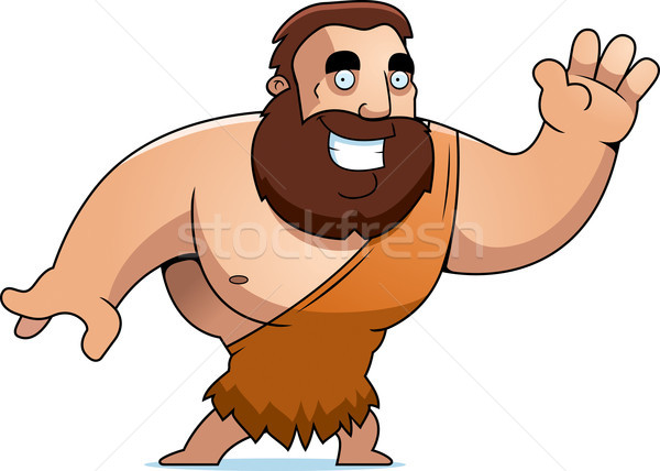 Stock photo: Cartoon Barbarian Waving