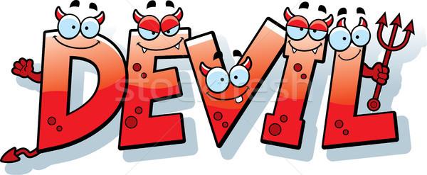 Cartoon Devil Text Stock photo © cthoman