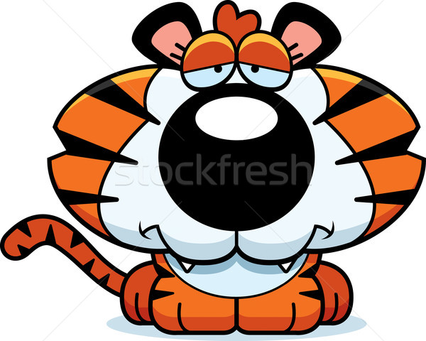Desenho animado triste tigre ilustração animal Foto stock © cthoman