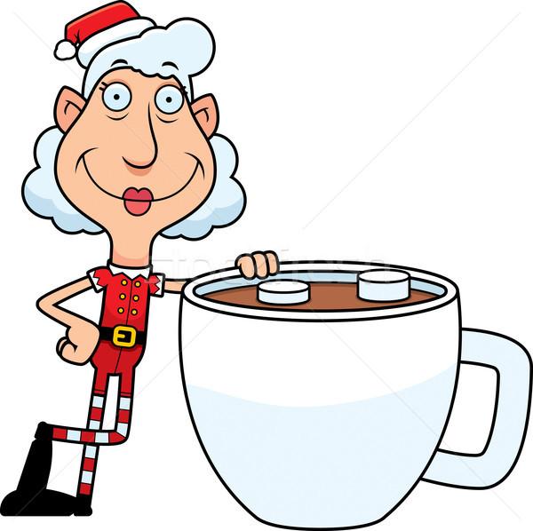 Desenho animado natal elfo chocolate quente ilustração avó Foto stock © cthoman