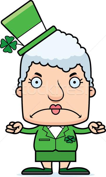 Desenho animado zangado irlandês mulher olhando trevo Foto stock © cthoman